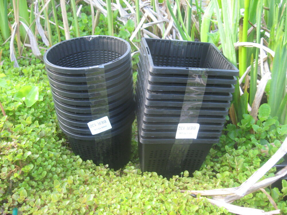 5 x 13cm new round plastic aquatic pots baskets for water for Planting pond plants in containers