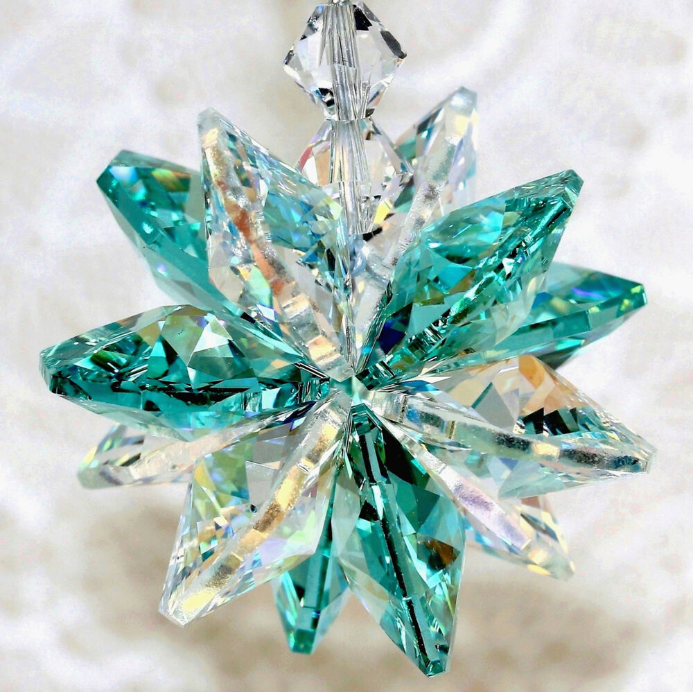 Aqua aurora borealis octagon starburst suncatcher m w for Crystal fall