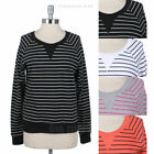 Striped Crewneck Long Sleeve Cotton Sweater Top Casual Comfortable Warm S M L