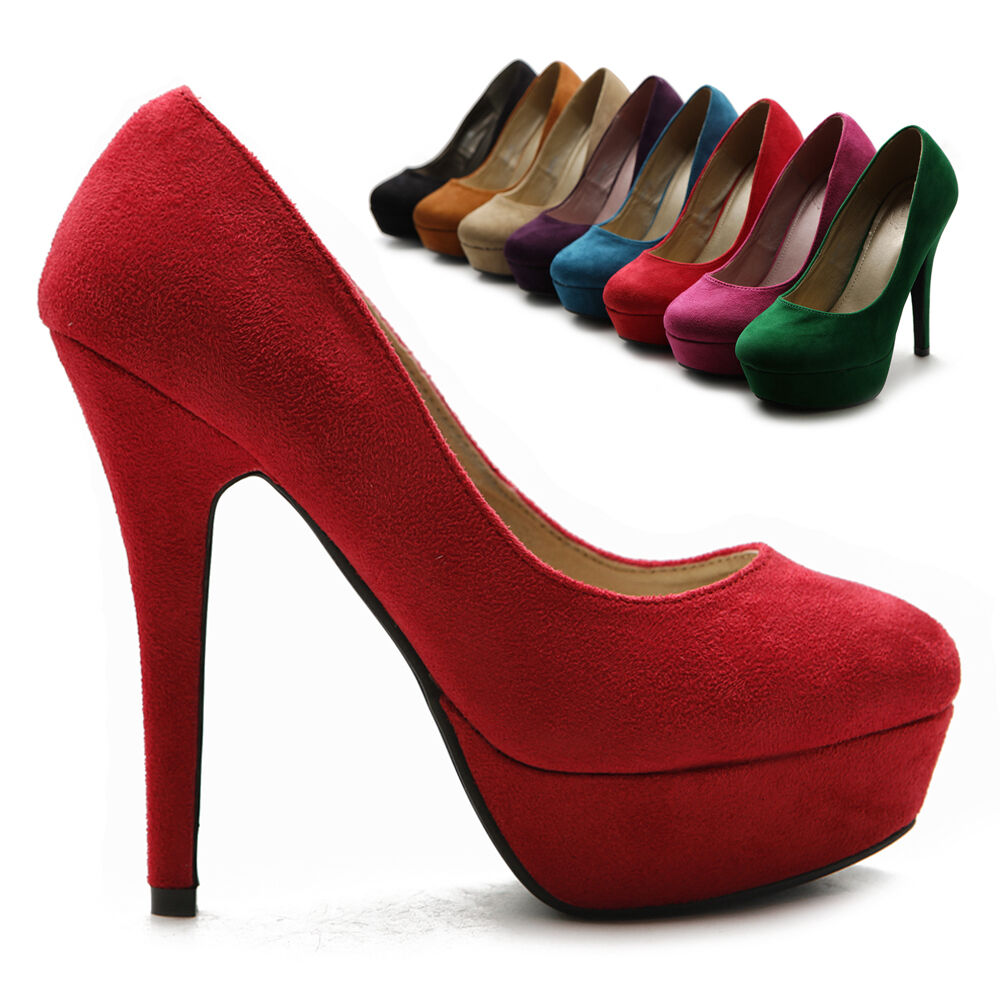 ollio womens pumps platforms classic faux suede high heels
