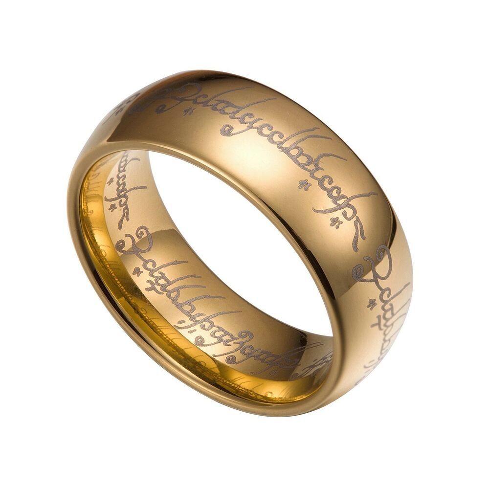 gold tungsten carbide 8mm lord of the rings band size 7 14