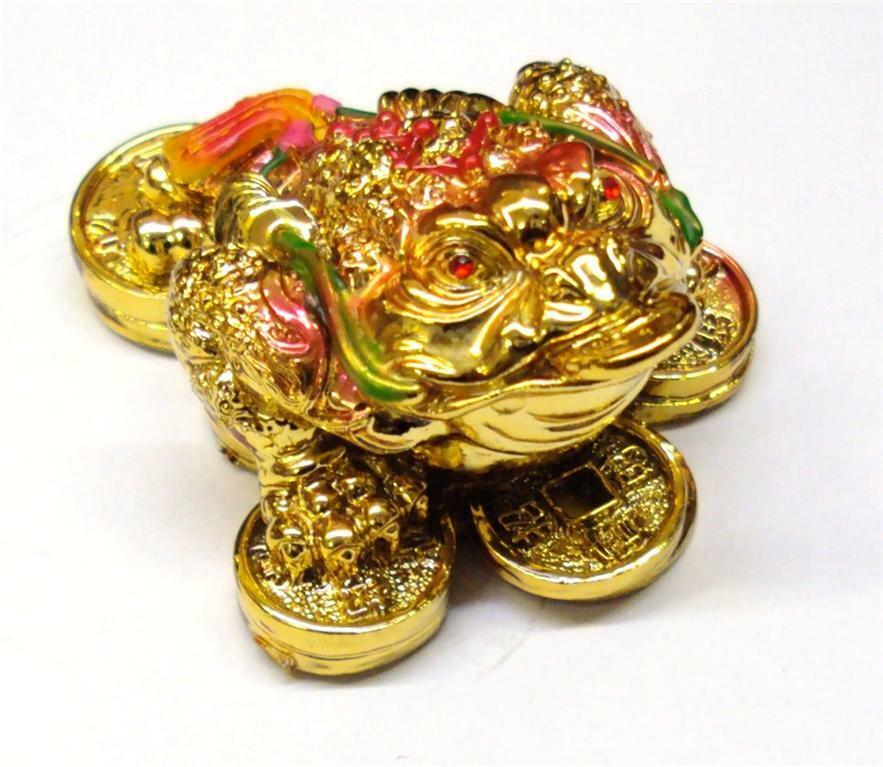feng shui money lucky oriental chinese three legged gold i ching coin frog toad ebay. Black Bedroom Furniture Sets. Home Design Ideas