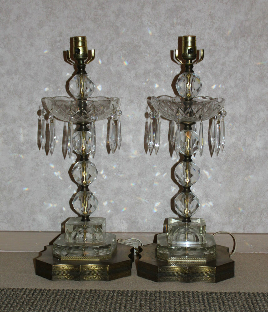 VINTAGE BOBECHE GLASS LAMPS PAIR Prisms Pressed 1960s