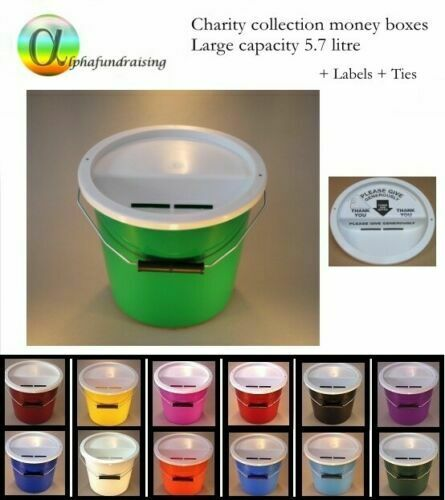 Charity Collection Donation Bucket Box With Lid Label