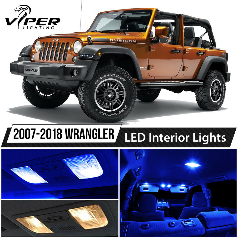2007 2015 Jeep Wrangler Blue Led Lights Interior Package Kit Ebay