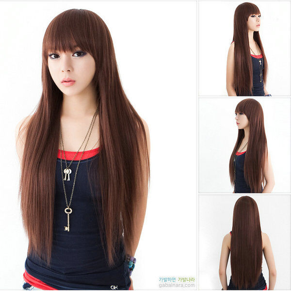 newest style womens girls sexy long fashion straight hair wig 3 colors available ebay. Black Bedroom Furniture Sets. Home Design Ideas
