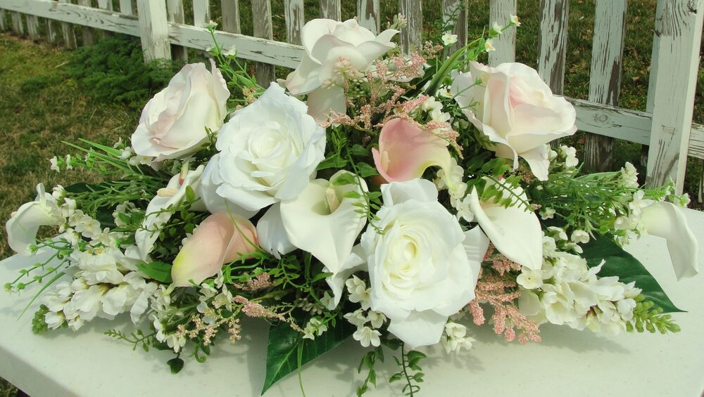 Pale pink white silk flowers centerpiece spray arrangement for Flower sprays for weddings
