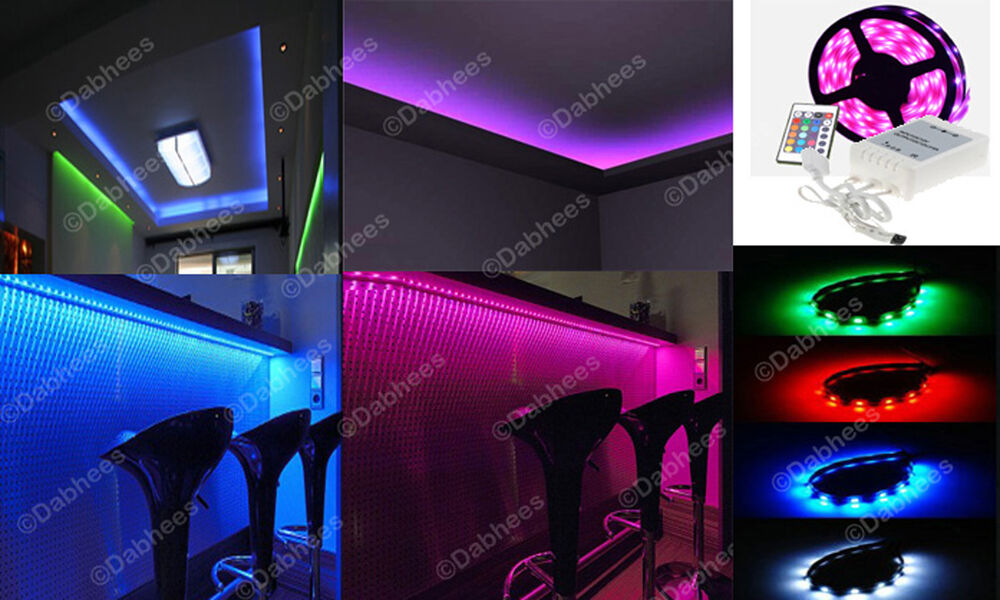 1m rgb led strip light colour changing led strip under cabinet display light ebay. Black Bedroom Furniture Sets. Home Design Ideas