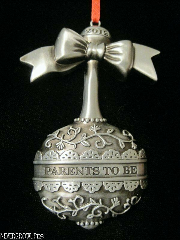 2012 Parents To Be Baby Rattle Ornament Metal Pewter