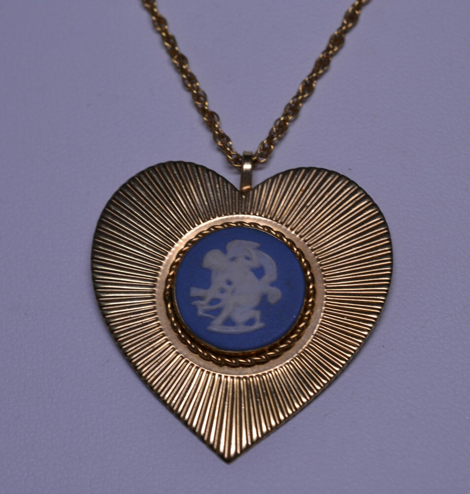 Vintage gold filled necklace heart pendant of wedgwood for Gold filled jewelry