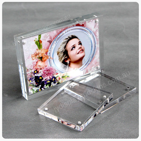 2 x 4 x 6 magnetic clear acrylic photo frame perspex picture holder ebay. Black Bedroom Furniture Sets. Home Design Ideas
