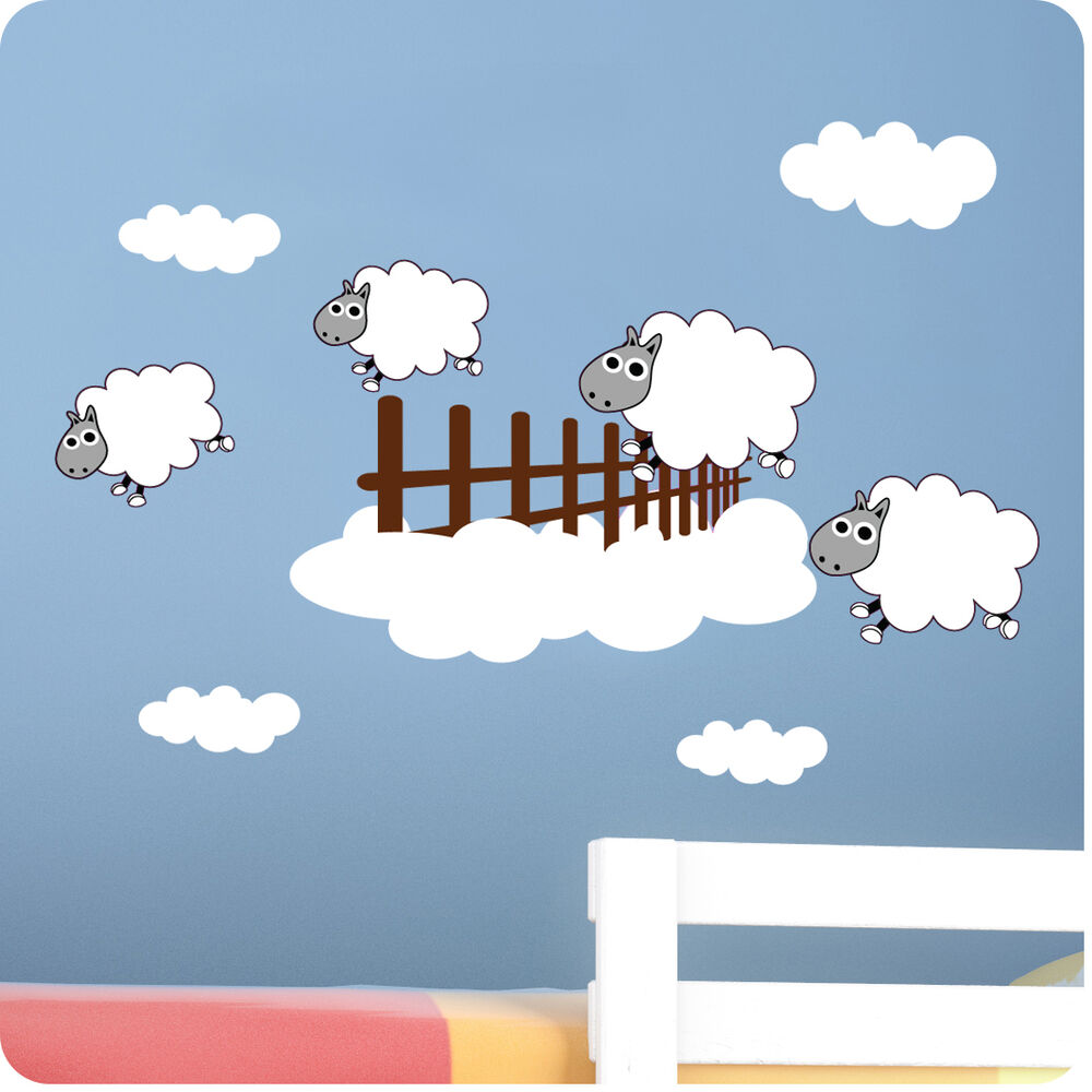Childrens bedroom counting sheep wall stickers vinyl baby for Baby wall decoration stickers