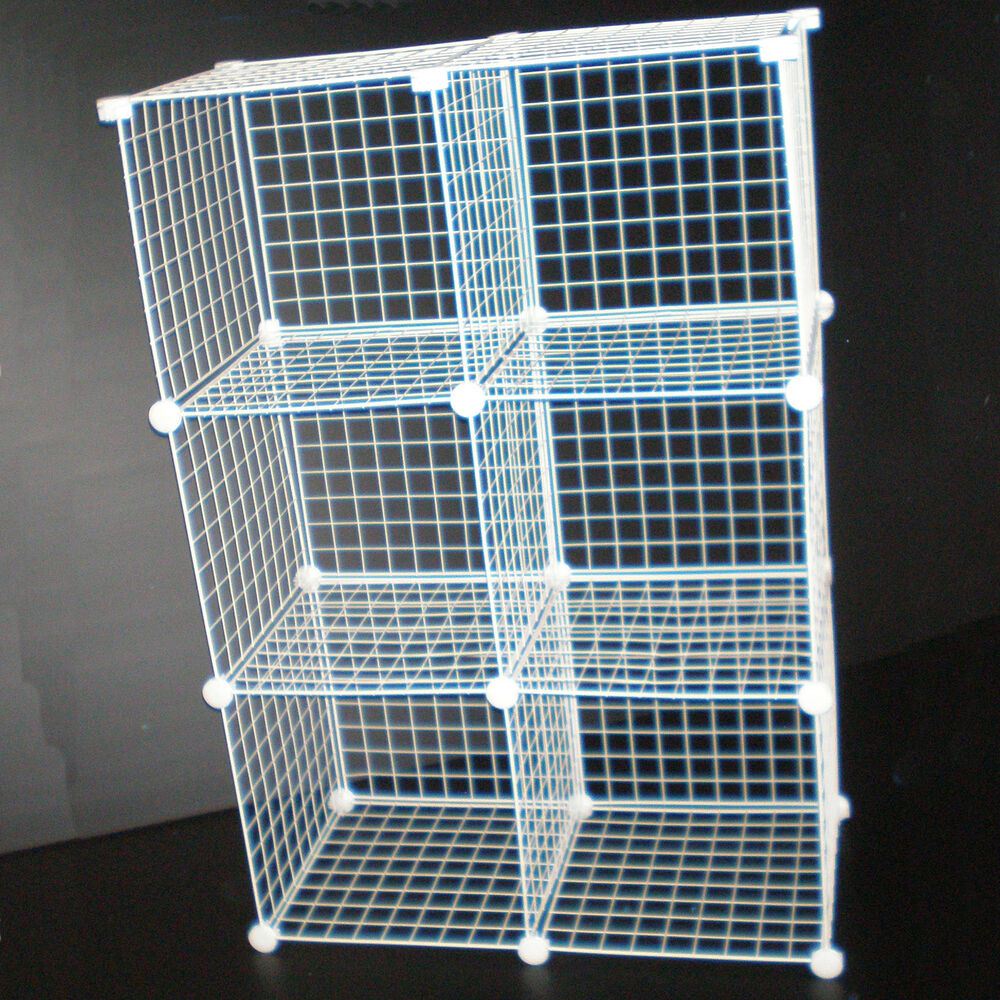 White Wire Cube Storage Unit Shoe Clothes Store Rack New