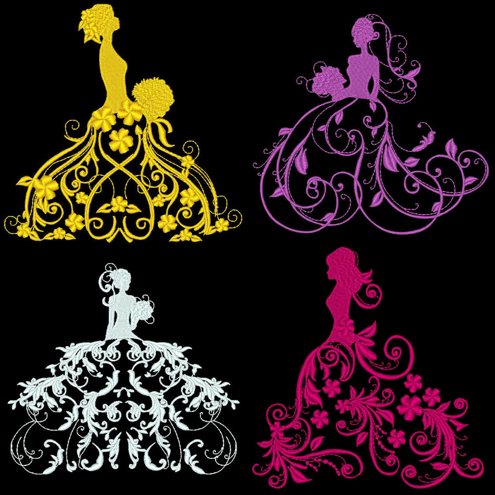 Fantasy fashion divas 36 machine embroidery design pack Fashion embroidery designs