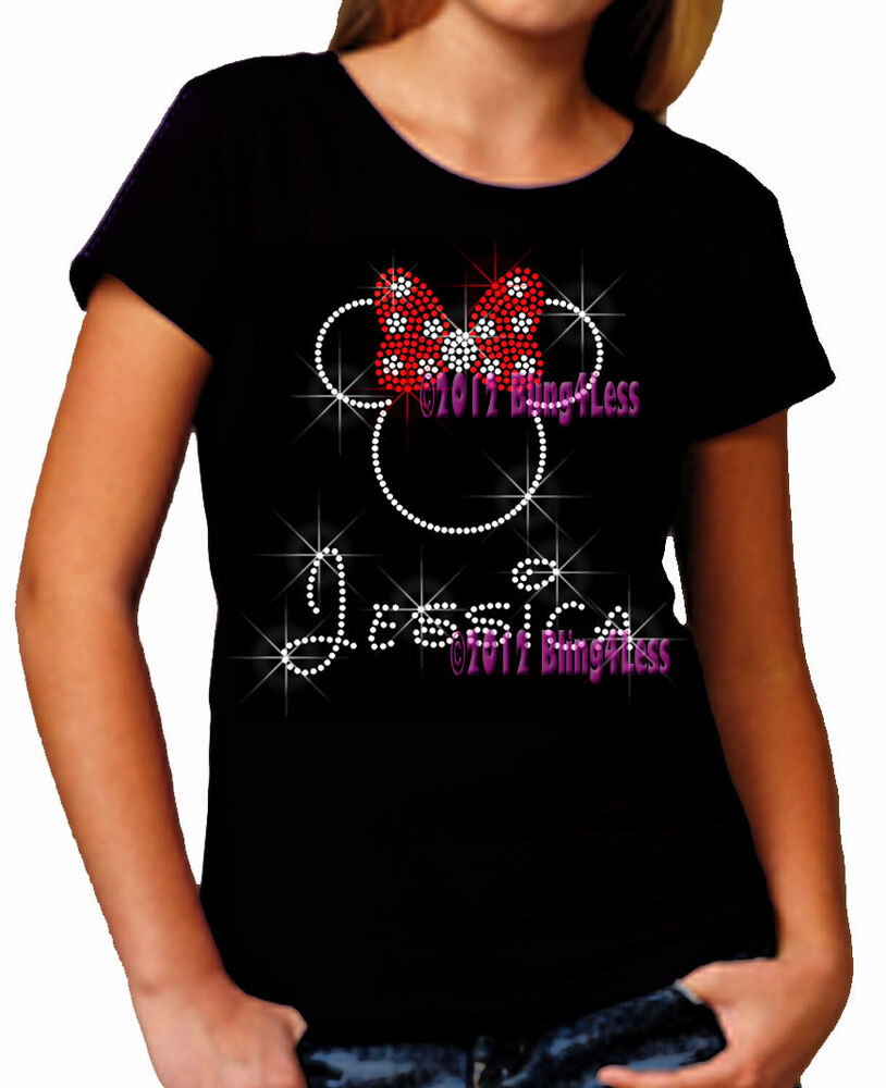 Personalized Minnie Mouse Red Polka Rhinestone On Kid 39 S T