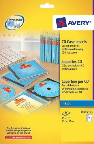 Avery cd case inserts cover tray j8435 25 ebay for Avery dvd case template