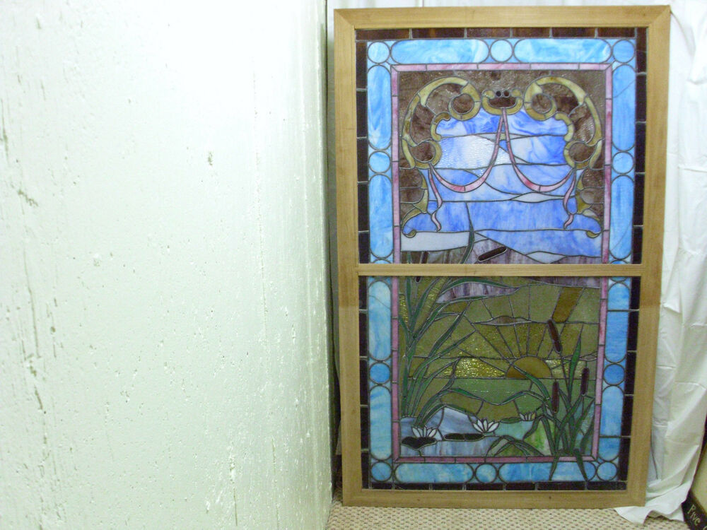 large cattail stained glass framed ebay