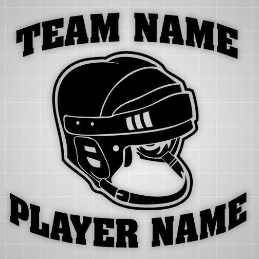Hockey Helmet wall decal personalized sticker,team name ...