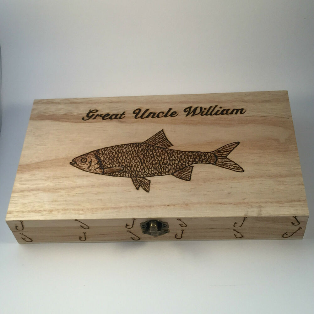 Fishing fly box personalised gifts perch pike salmon trout for Fly fishing box