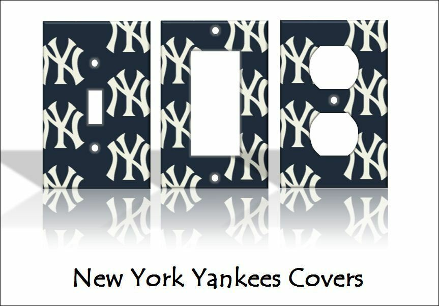 New york yankees light switch covers baseball mlb home for Home decor new york