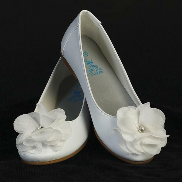 Bridal Shoes Jb: Girls WHITE Dress Shoes FLATS Flower & Rhinestone First