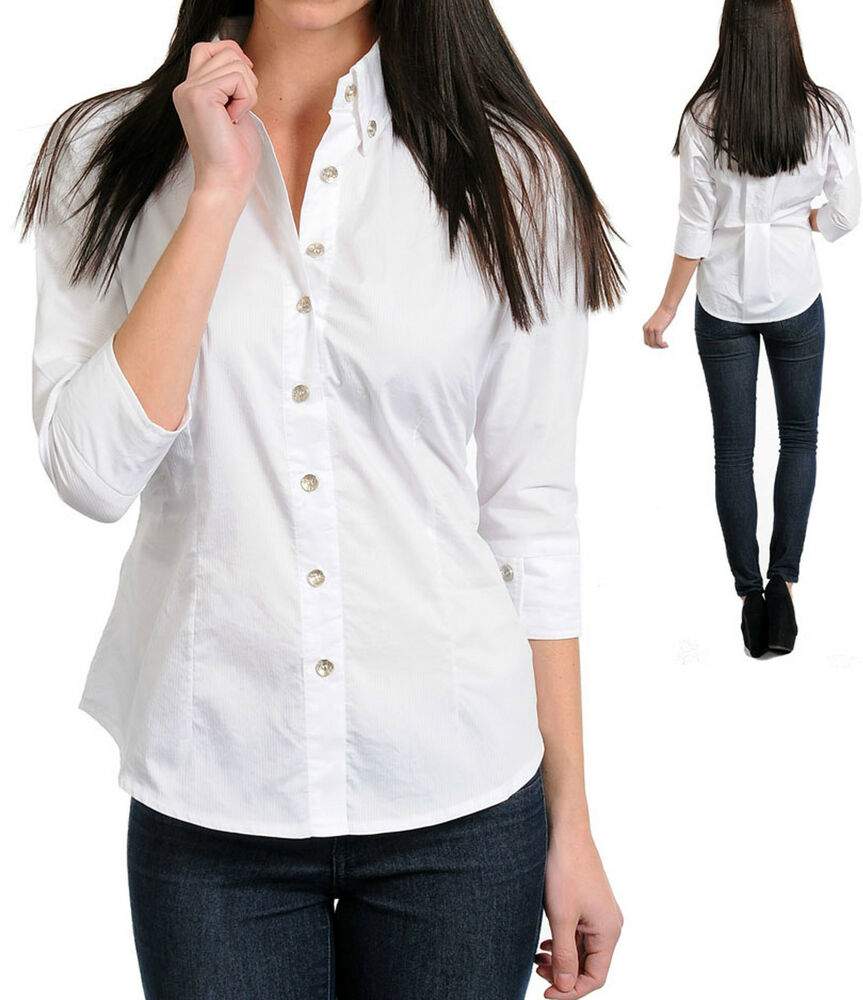 New women 39 s casual 3 4 sleeve button down shirt cotton for Women s short sleeve button down cotton shirts