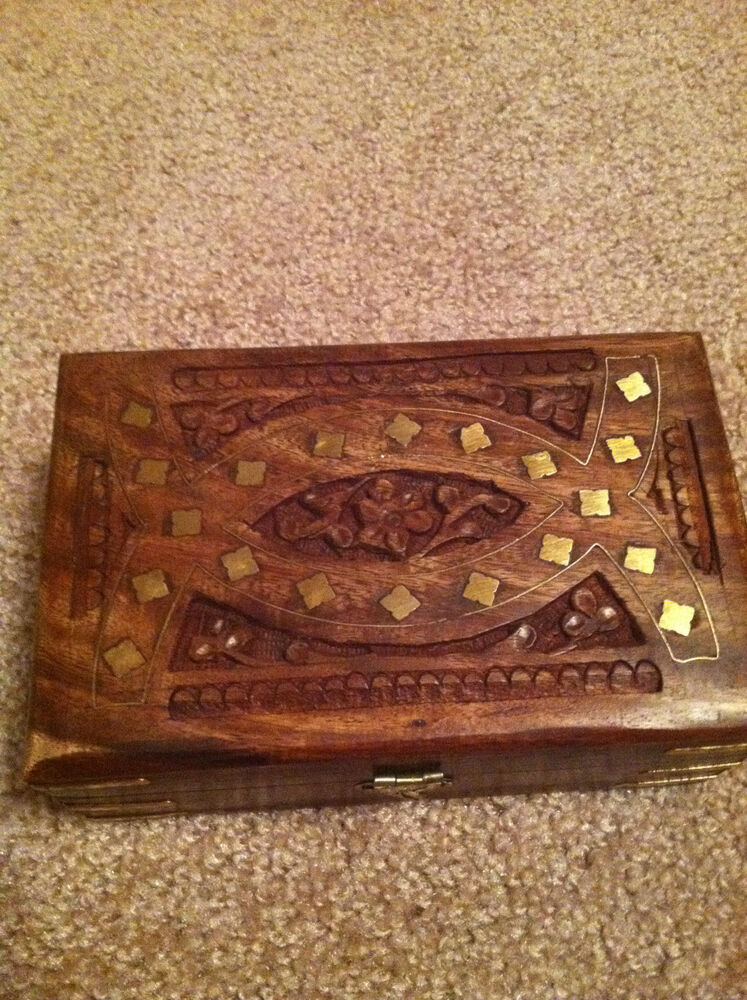 Brand new hand carved wooden trinket box with front latch
