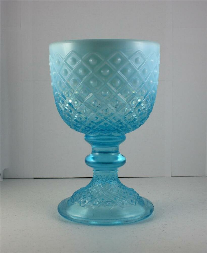Vtg Fenton Blue Opalescent Glass Diamond Lace Chalice Goblet Footed Vase 7 1 8 Quot Ebay