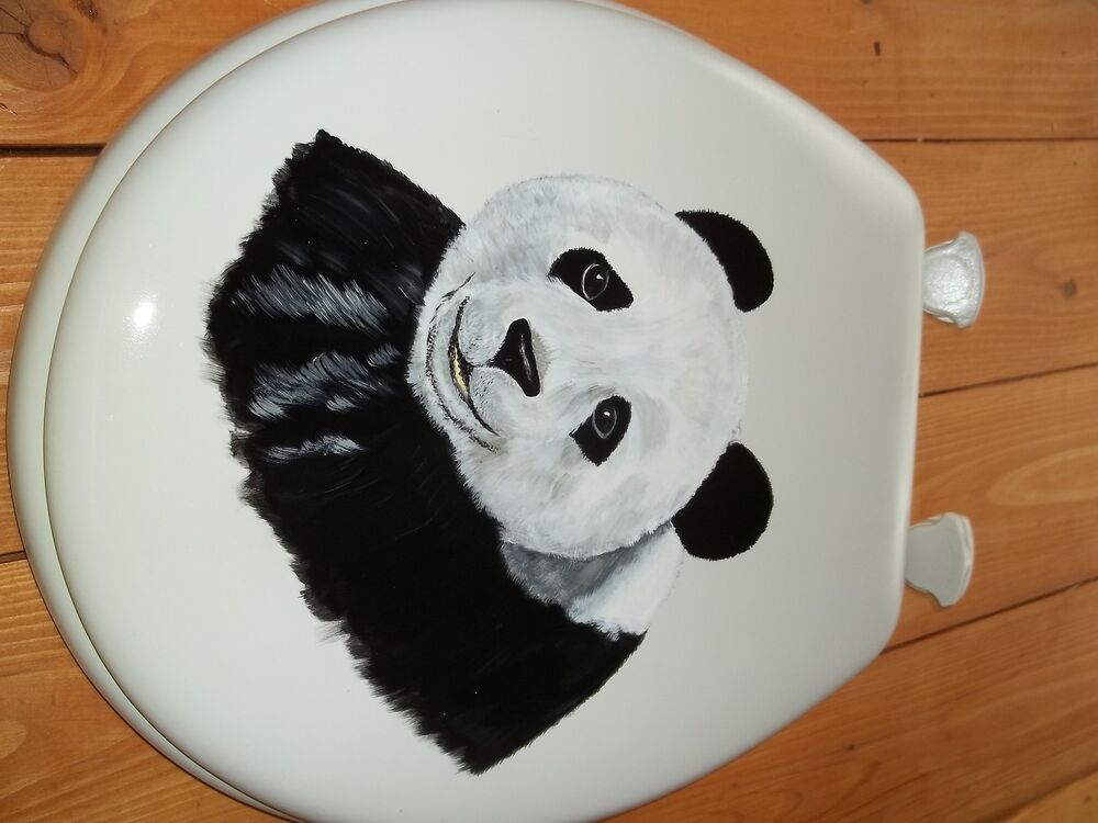 PANDA BEAR TOILET SEAT HAND PAINTED PANDA BLACK AND WHITE STANDARD SIZE
