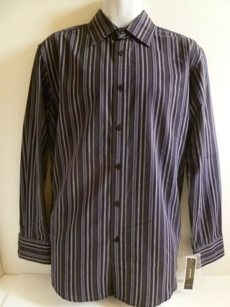 New men 39 s alfani black purple dress shirt size medium for Size 15 dress shirt