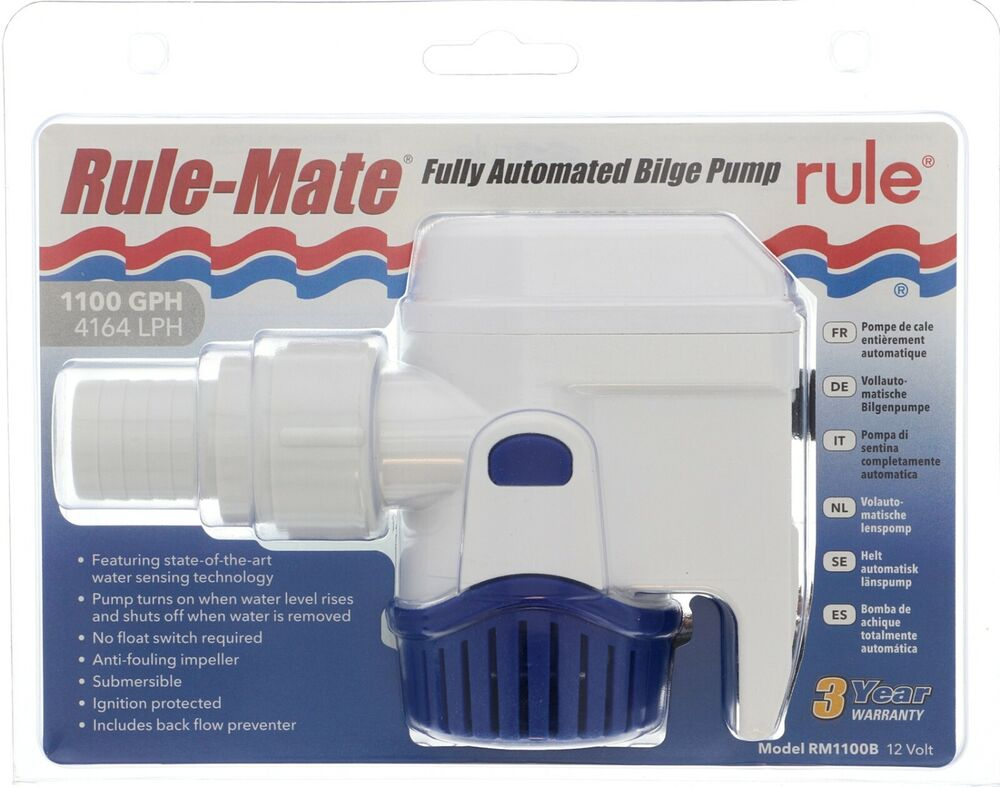 Rule Mate  U0026quot Automatic U0026quot  Bilge Pump 1100 Gph 1 8 Outlet