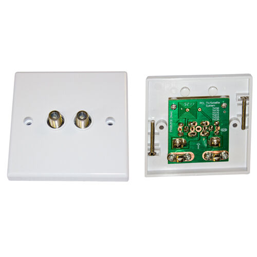 Wall Plate Twin F Satellite Outlet Dual Socket Ebay