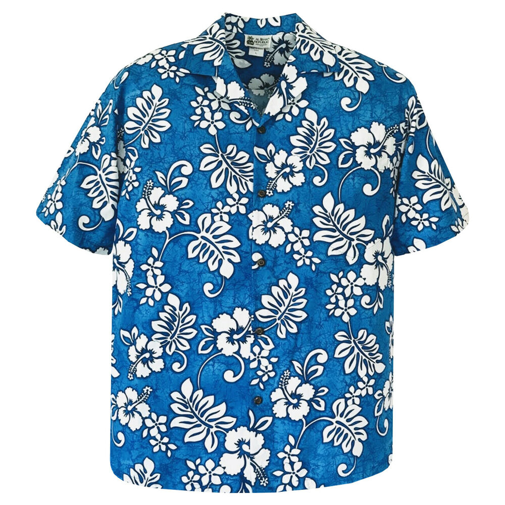 500 1744 blue hawaiian aloha shirt tropical hibiscus