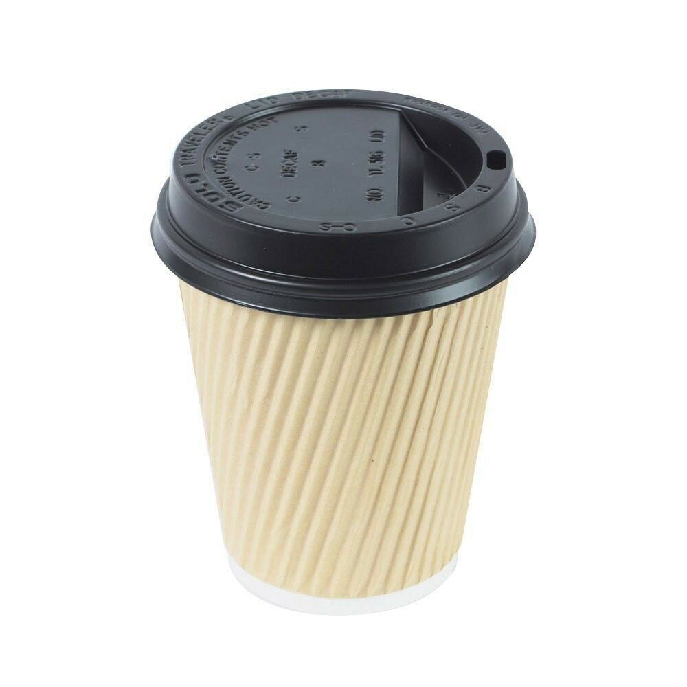 Coffee Cups With Lids : Ripple oz cups black lids brown kraft insulated