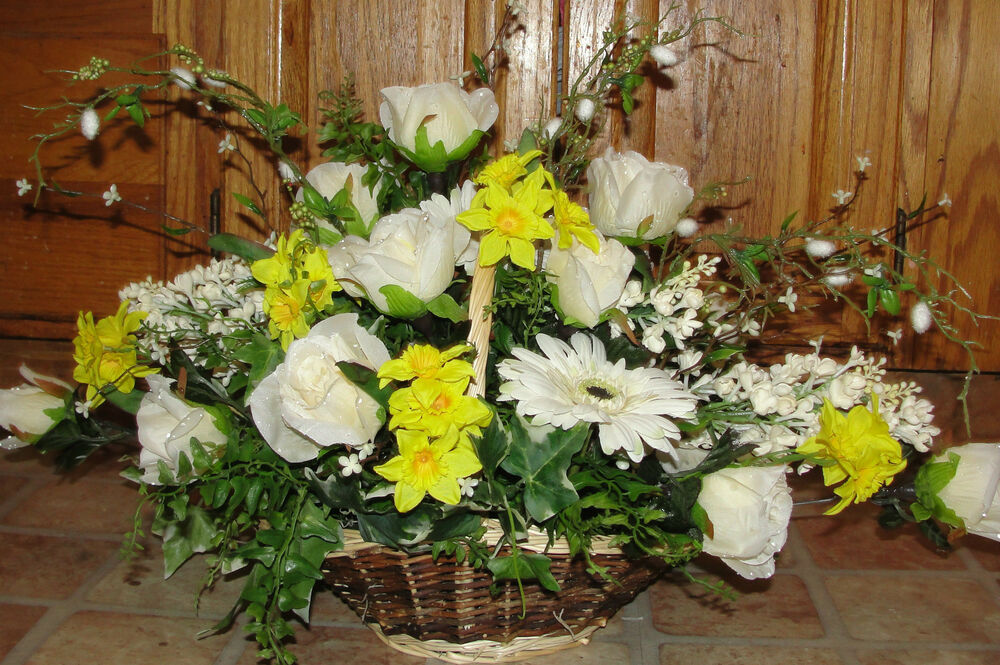 Spring easter centerpiece silk flower arrangements basket