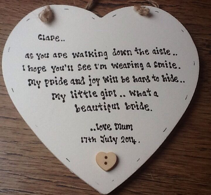 Shabby Personalised Chic Mother Of The Bride Gift For Daughter On Her Wedding