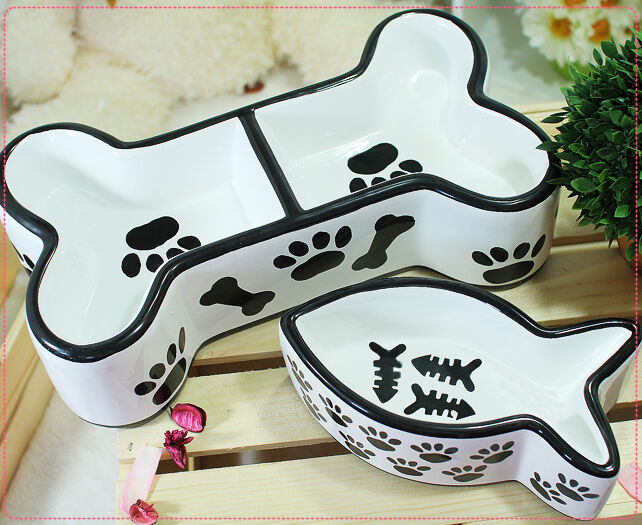 Cute Luxury Pet Ceramic Food Bowl Feeder Dish For Dogs