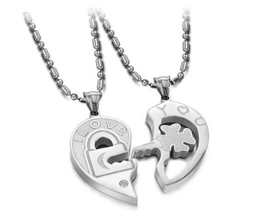 Men Women Couple Necklace I Love You Lock And Key Heart