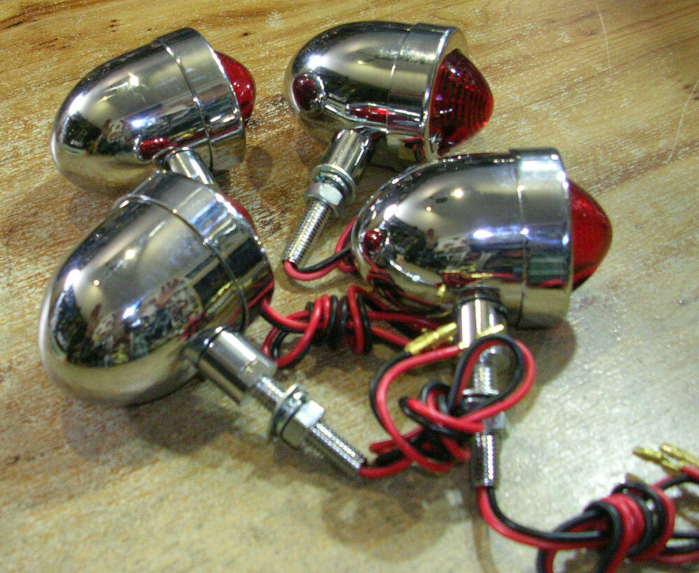 4 feu phare arriere moto bobber chopper motor taillight vintage bullet chrome 4 ebay. Black Bedroom Furniture Sets. Home Design Ideas