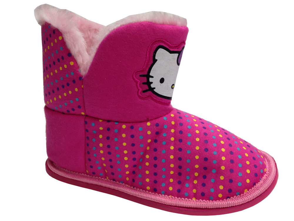 girls pink hello kitty novelty bootee slippers fur lined novelty bedroom home ebay