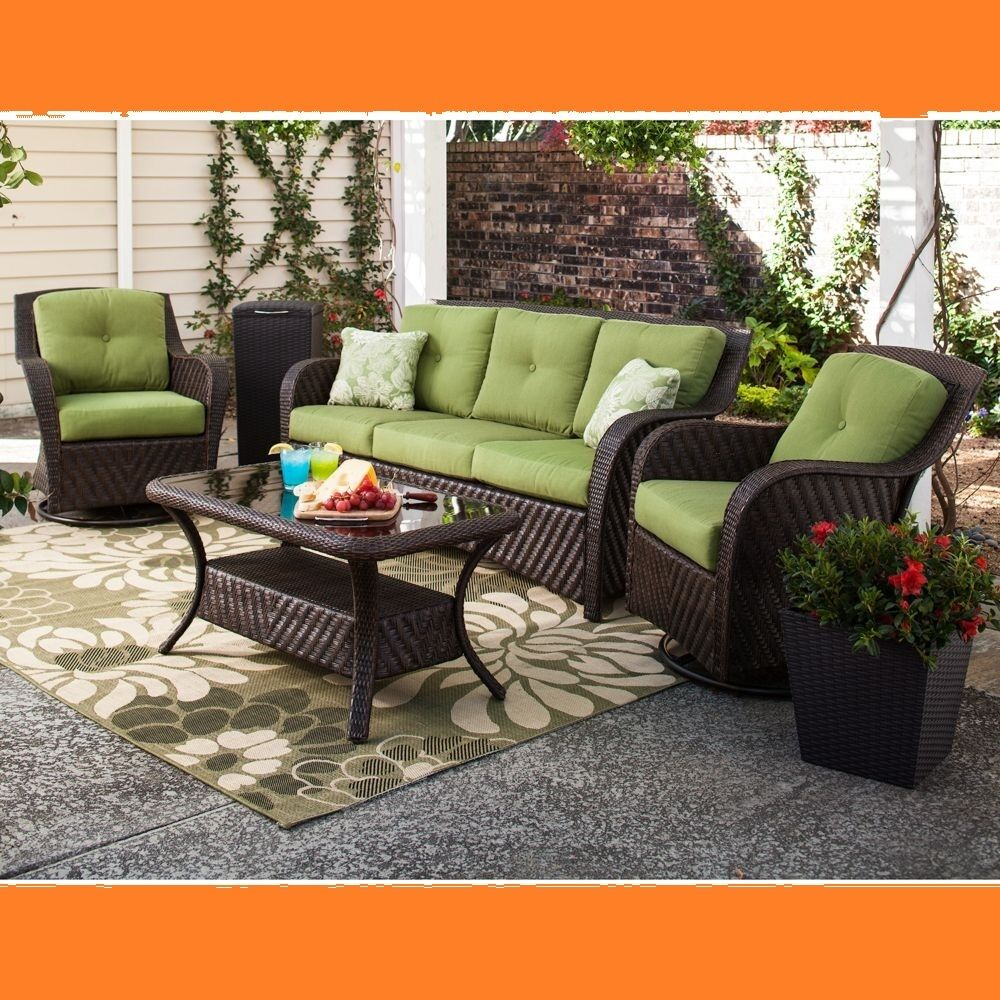 Outdoor patio wicker deep seating furniture set 4 pc sofa for Wicker patio furniture