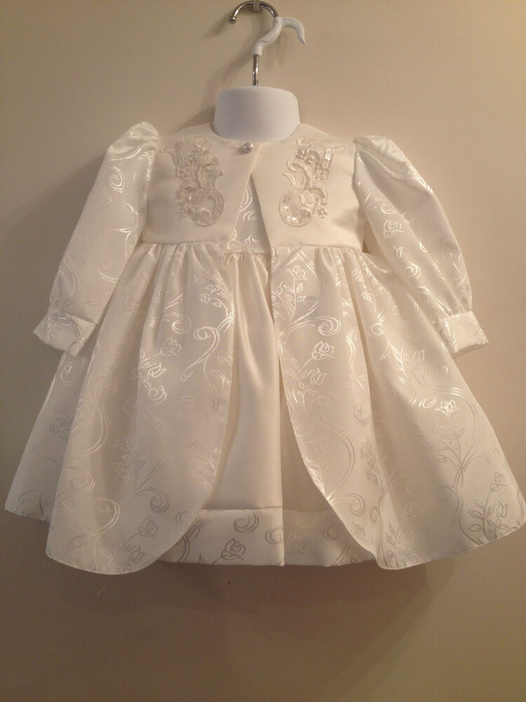 Little baby girls white christening wedding dress coat hat for Wedding dresses for baby girls