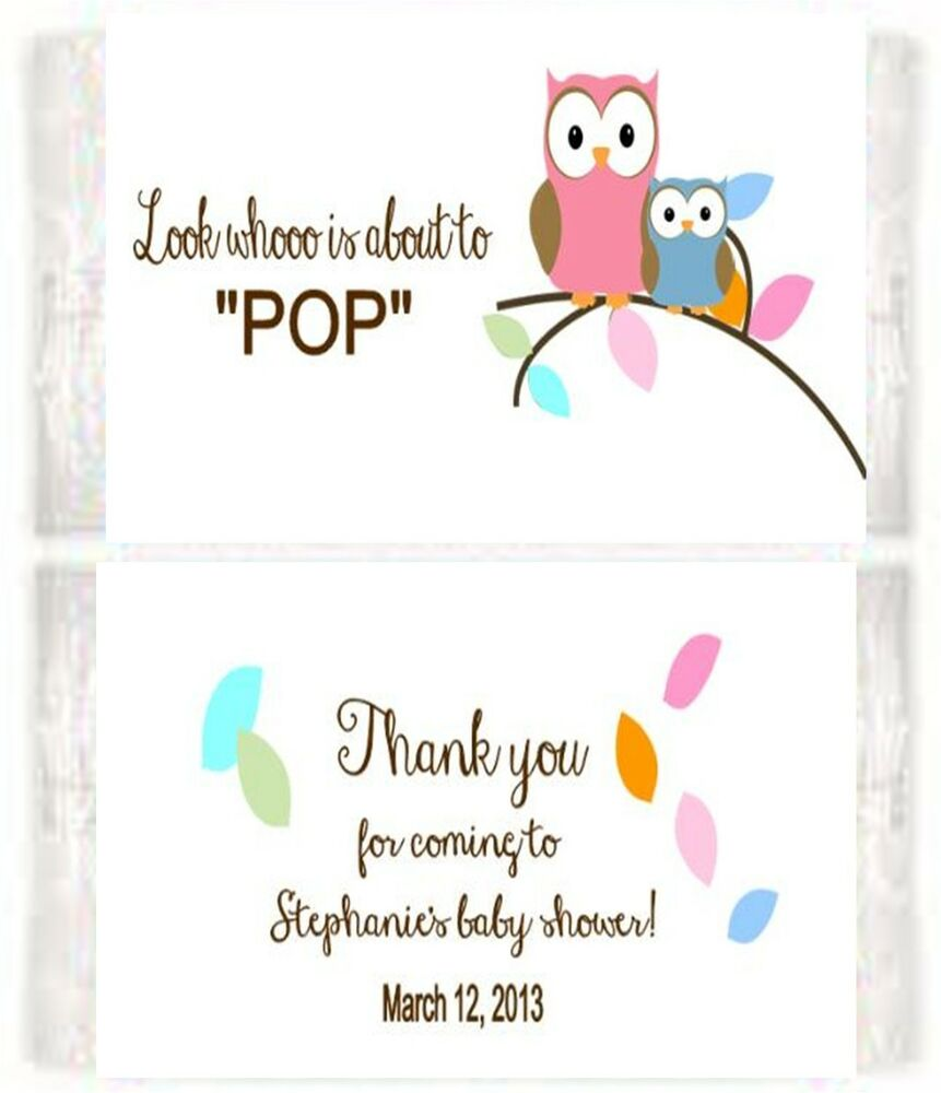 Baby Shower Owls Popcorn Wrappers Birthday Party Favors Personalized ...