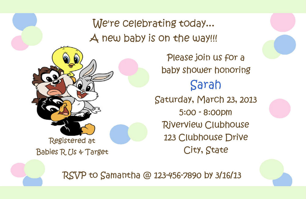 Personalized Baby Looney Tunes Shower Invitations EBay