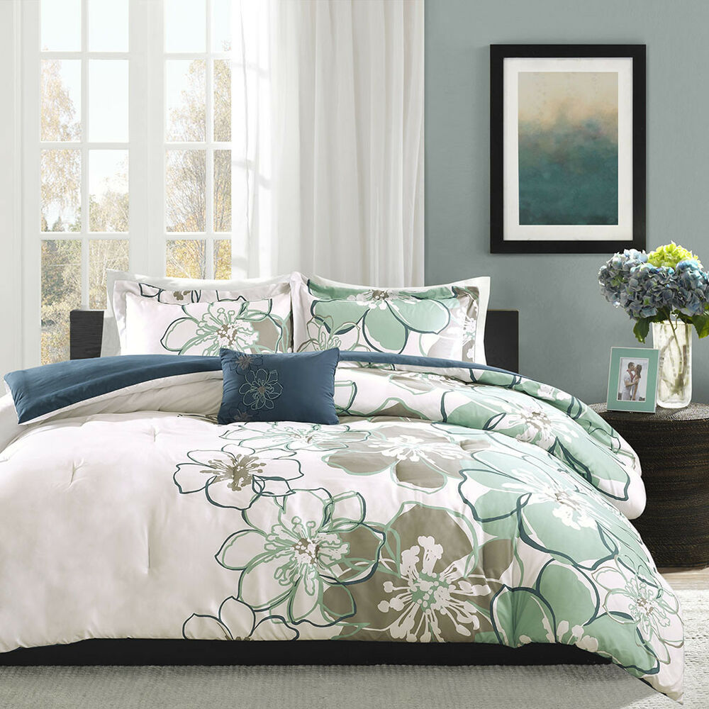 Beautiful 4pc chic floral modern blue green white girl comforter set