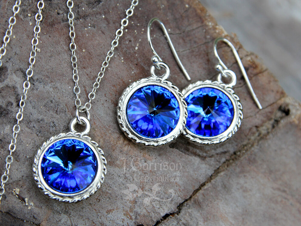 sapphire sterling silver necklace and earring set deep. Black Bedroom Furniture Sets. Home Design Ideas