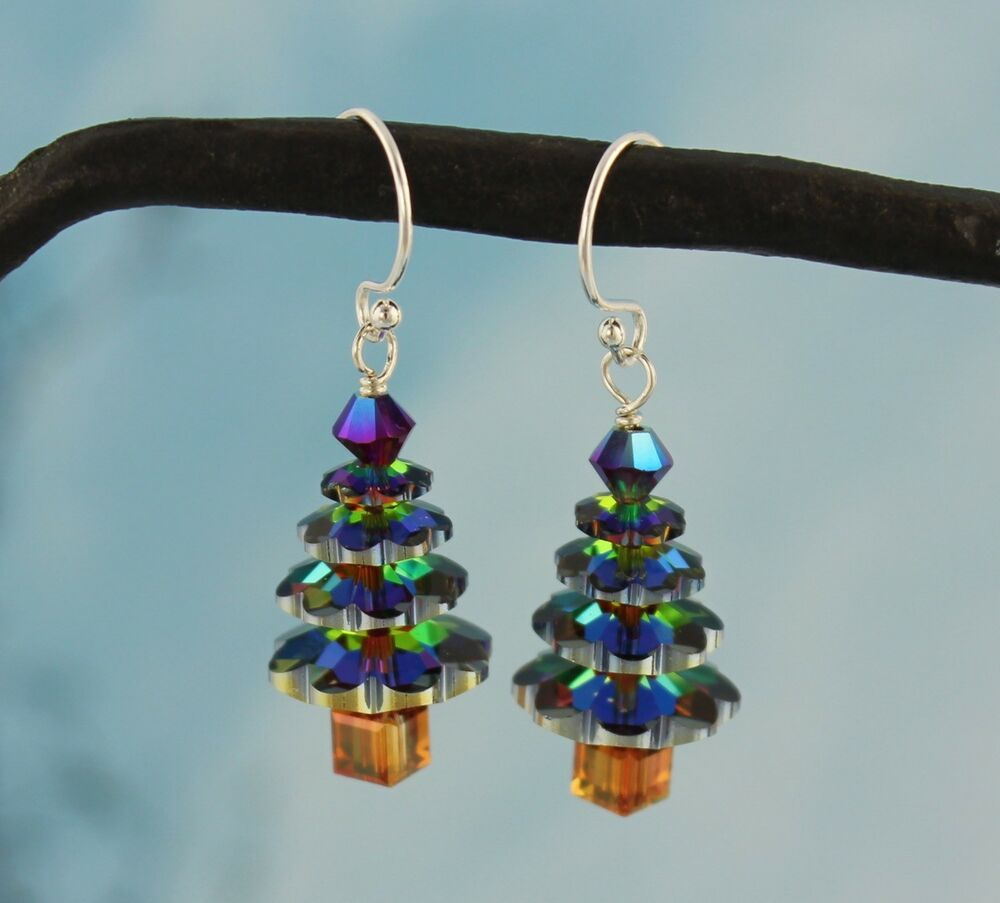 Color changing crystal christmas tree earrings sterling for Sterling silver christmas jewelry