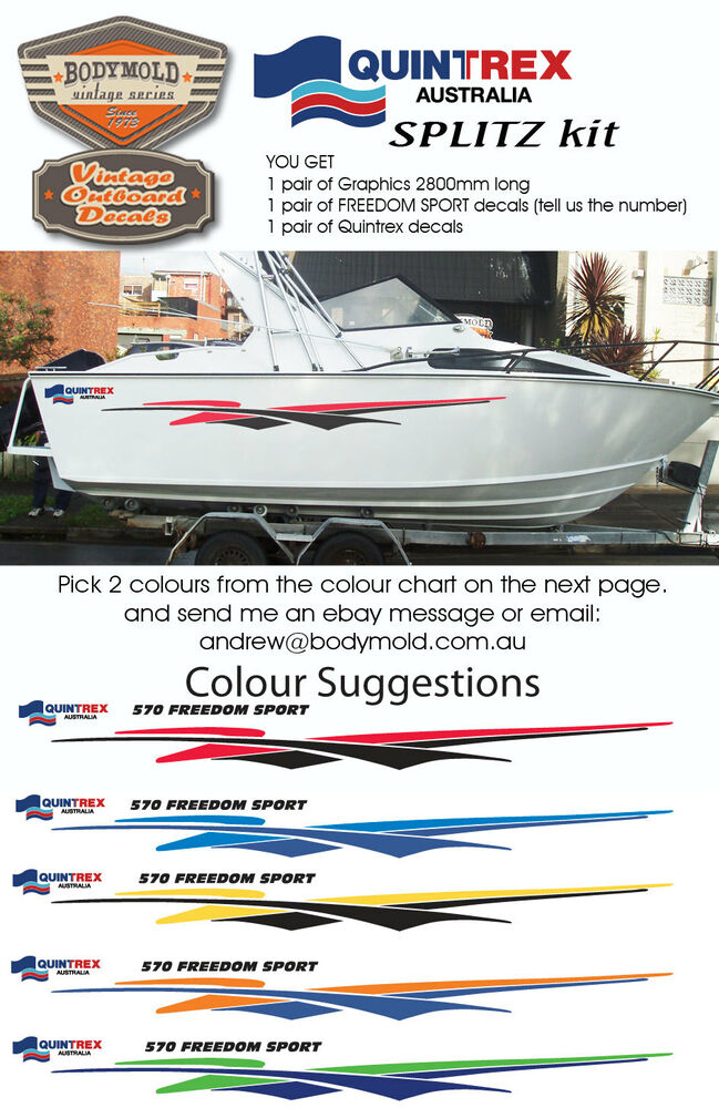 Quintrex Freedom Boat Decals And Graphics SPLITZ Kit EBay - Decals for boats australia