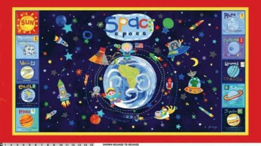 Out of this world space planets fabric panel ebay for Red space fabric