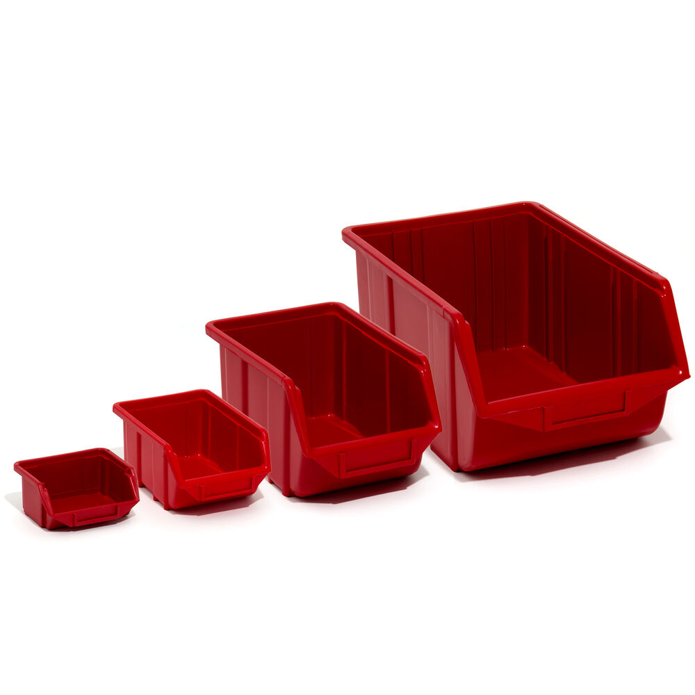 Red Eco Box Storage Bins In 4 Sizes Plastic Parts